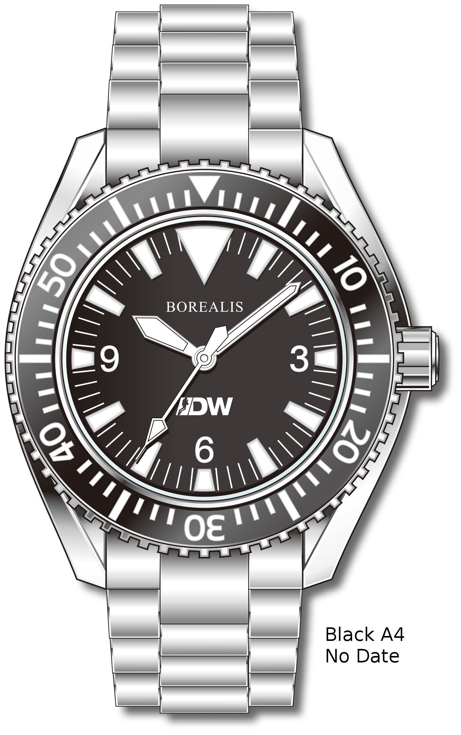 Pre-Order Borealis Estoril 300 for Diver's Watches Facebook Group Black Dial Big Triangle No Date Black A4 No Date EDWFBGBLACKA4NDT