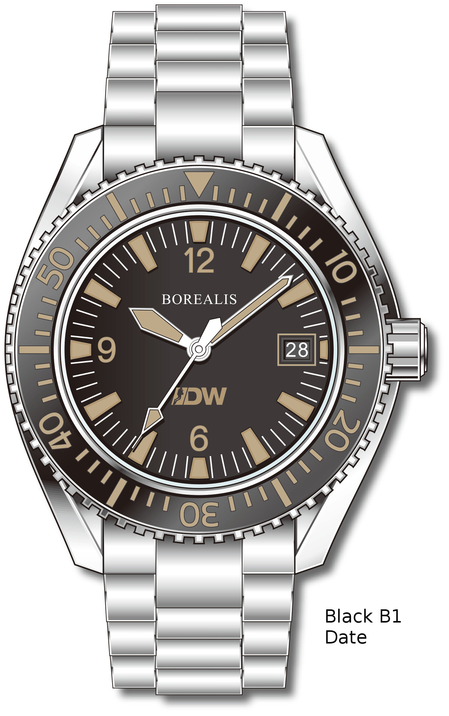 Pre-Order Borealis Estoril 300 for Diver's Watches Facebook Group Black Dial Arabic Numbers Date Black B1 Date EDWFBGBLACKB1DT