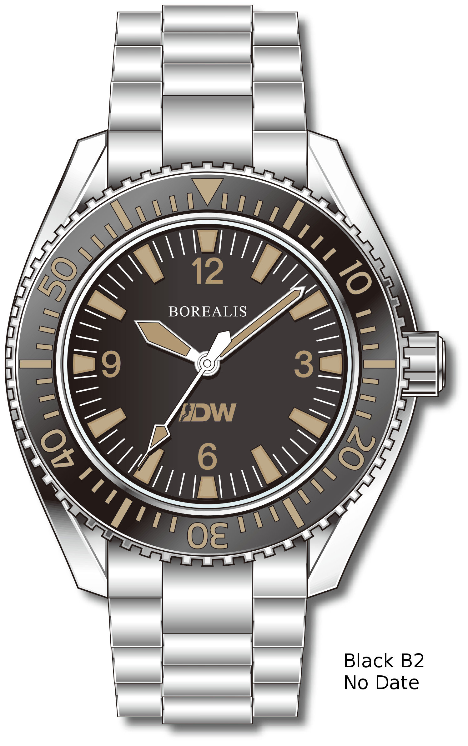 Pre-Order Borealis Estoril 300 for Diver's Watches Facebook Group Black Dial Arabic Numbers Date Black B2 No Date EDWFBGBLACKB2NDT