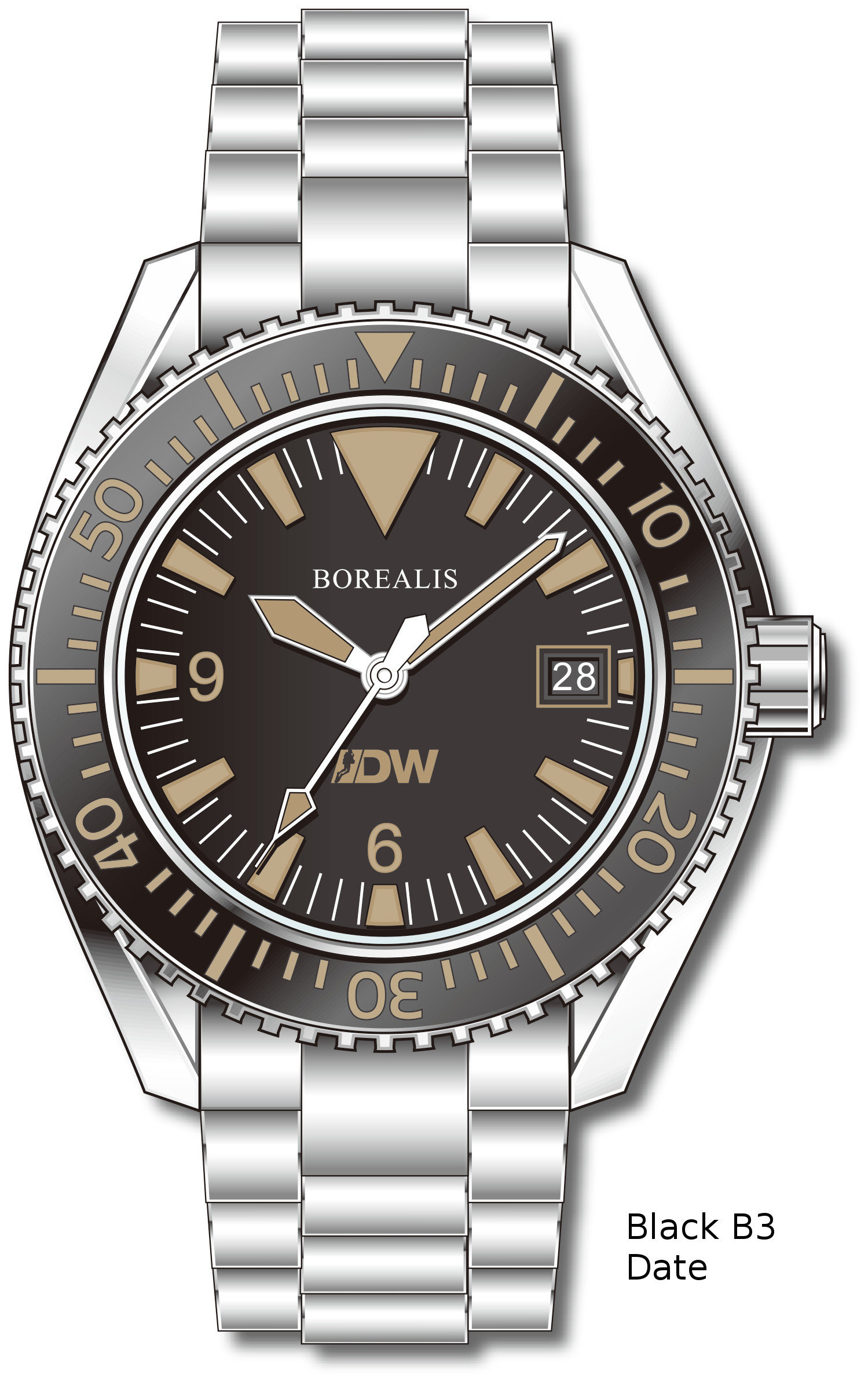 Pre-Order Borealis Estoril 300 for Diver's Watches Facebook Group Black Dial Big Triangle Date Black B3 Date EDWFBGBLACKB3DT