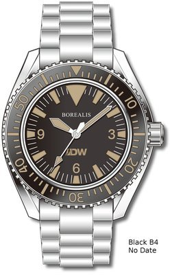 Pre-Order Borealis Estoril 300 for Diver's Watches Facebook Group Black Dial Big Triangle No Date Black B4 No Date