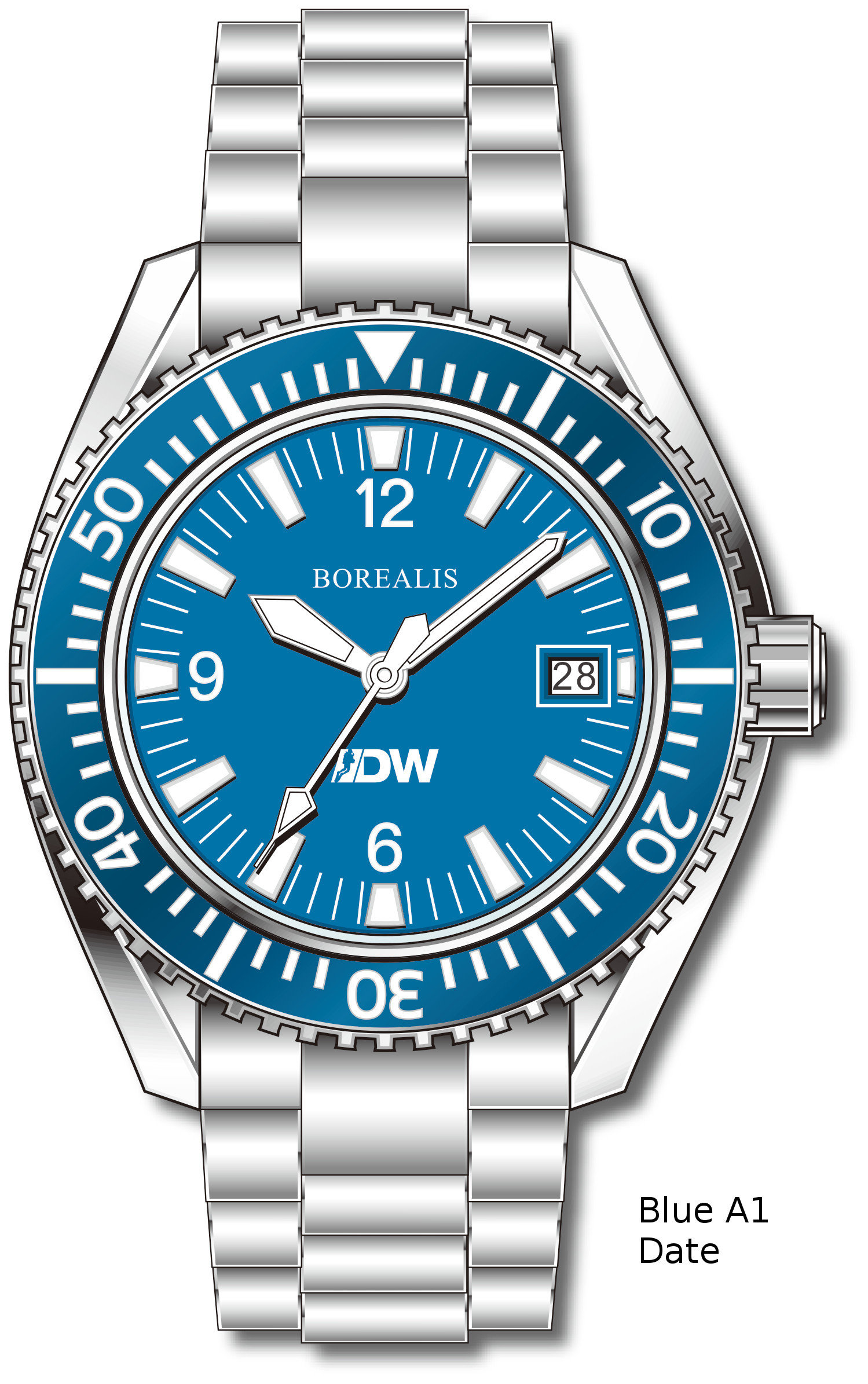 Pre-Order Borealis Estoril 300 for Diver's Watches Facebook Group Blue Dial Arabic Numbers Date Blue A1 Date EDWFBGBLUEA1DT
