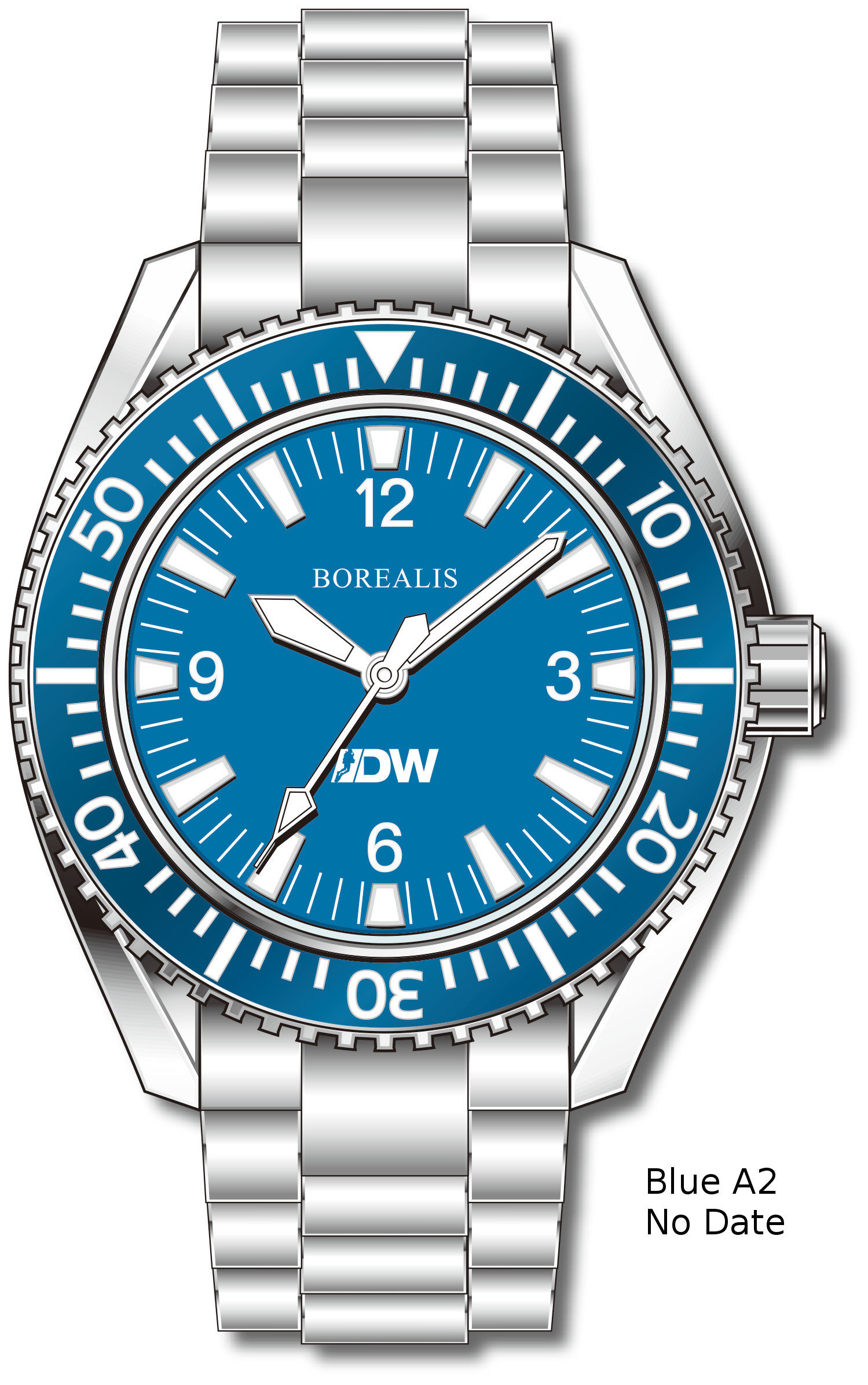 Pre-Order Borealis Estoril 300 for Diver's Watches Facebook Group Blue Dial Arabic Numbers No Date Blue A2 No Date EDWFBGBLUEA2NDT