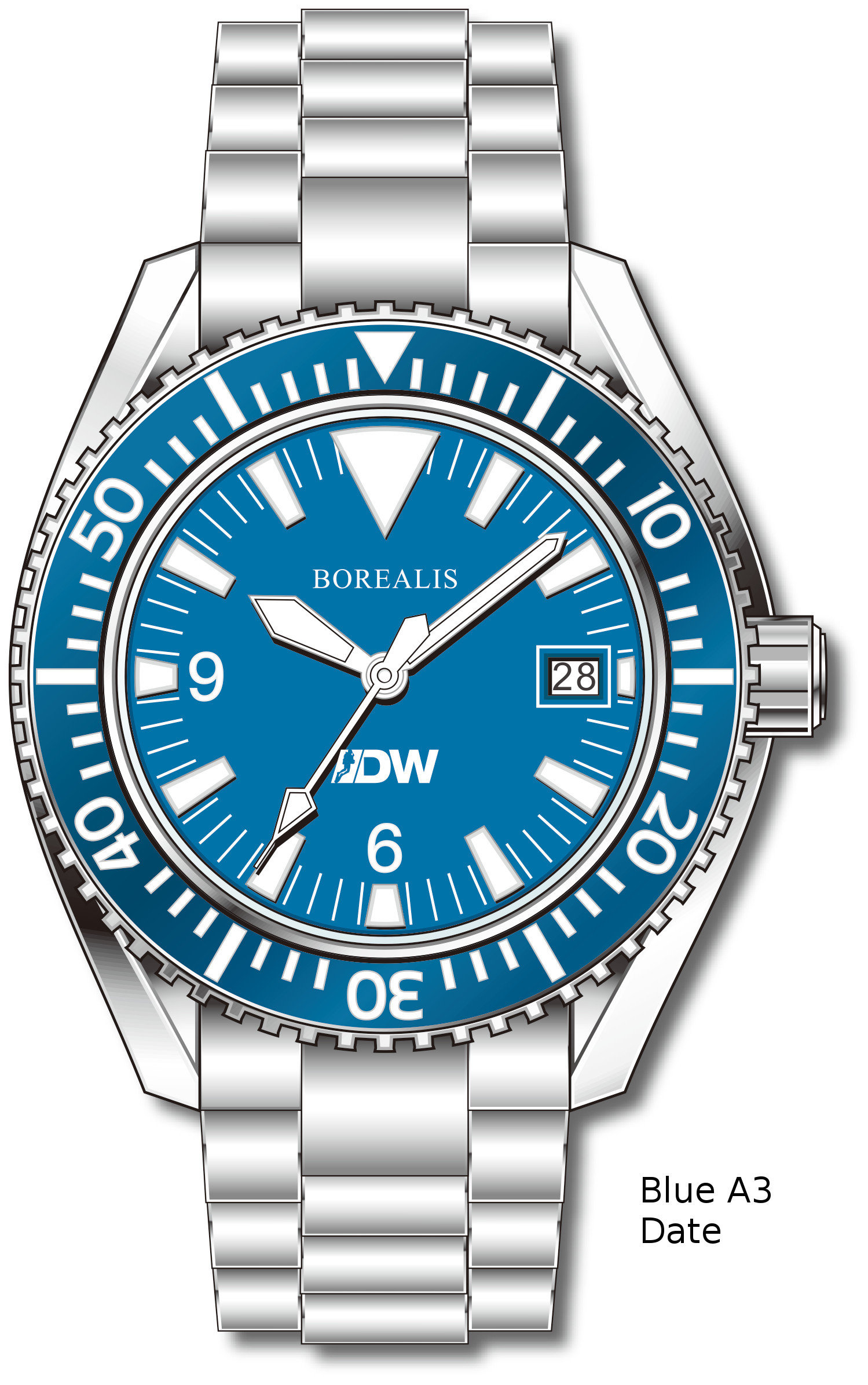 Pre-Order Borealis Estoril 300 for Diver's Watches Facebook Group Blue Dial Big Triangle Date Blue A3 EDWFBGBLUEA3DT