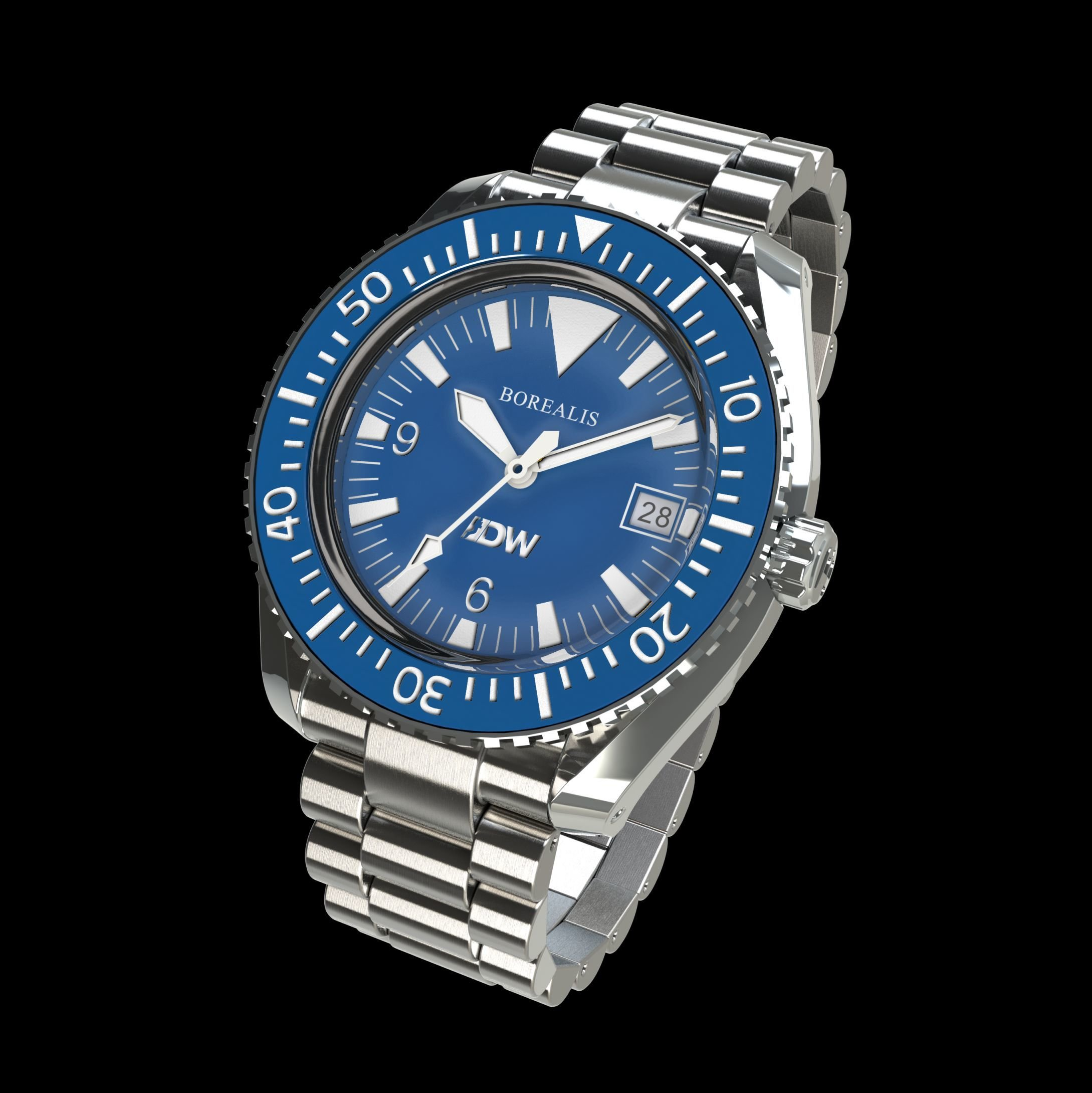 Pre-Order Borealis Estoril 300 for Diver's Watches Facebook Group Blue Dial Big Triangle Date Blue A3