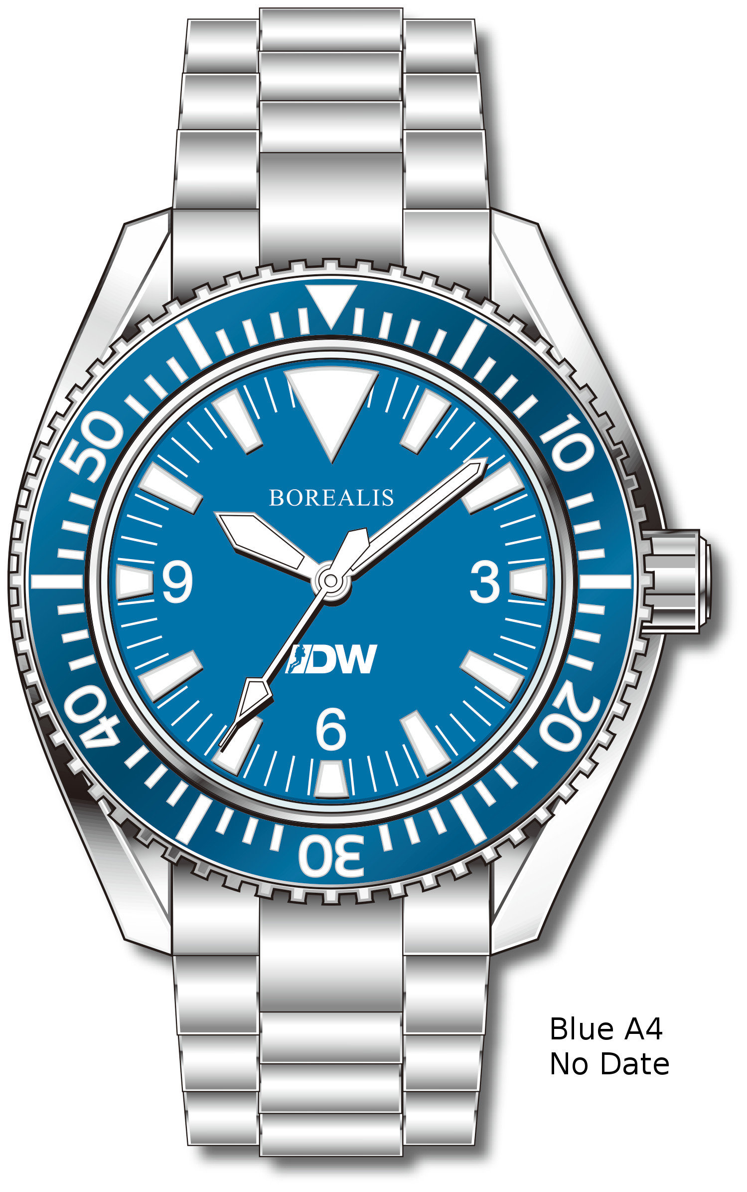Pre-Order Borealis Estoril 300 for Diver's Watches Facebook Group Blue Dial Big Triangle No Date Blue A4 EDWFBGBLUEA4NDT
