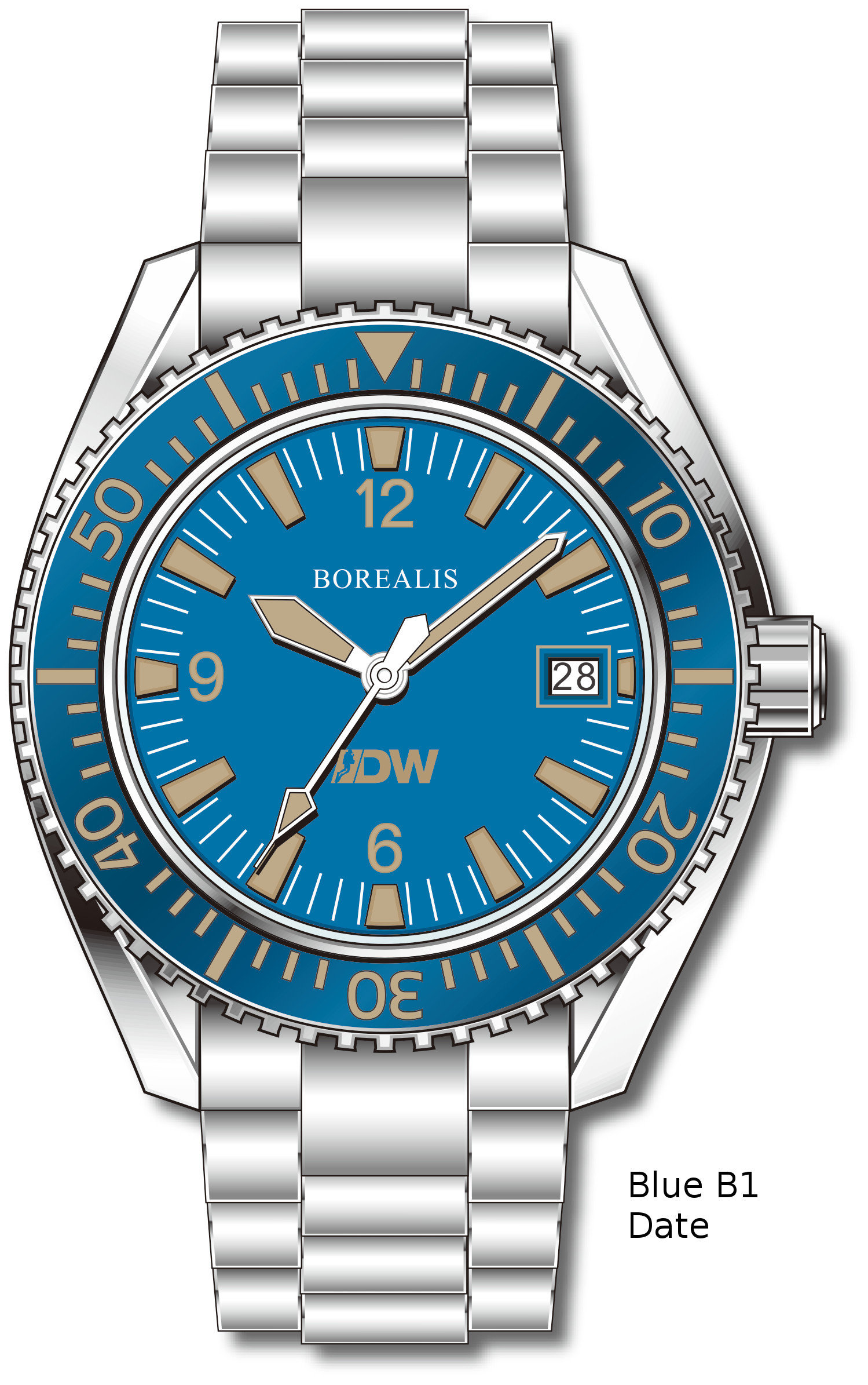Pre-Order Borealis Estoril 300 for Diver's Watches Facebook Group Blue Dial Arabic Numbers Date Blue B1 Date EDWFBGBLUEB1DT