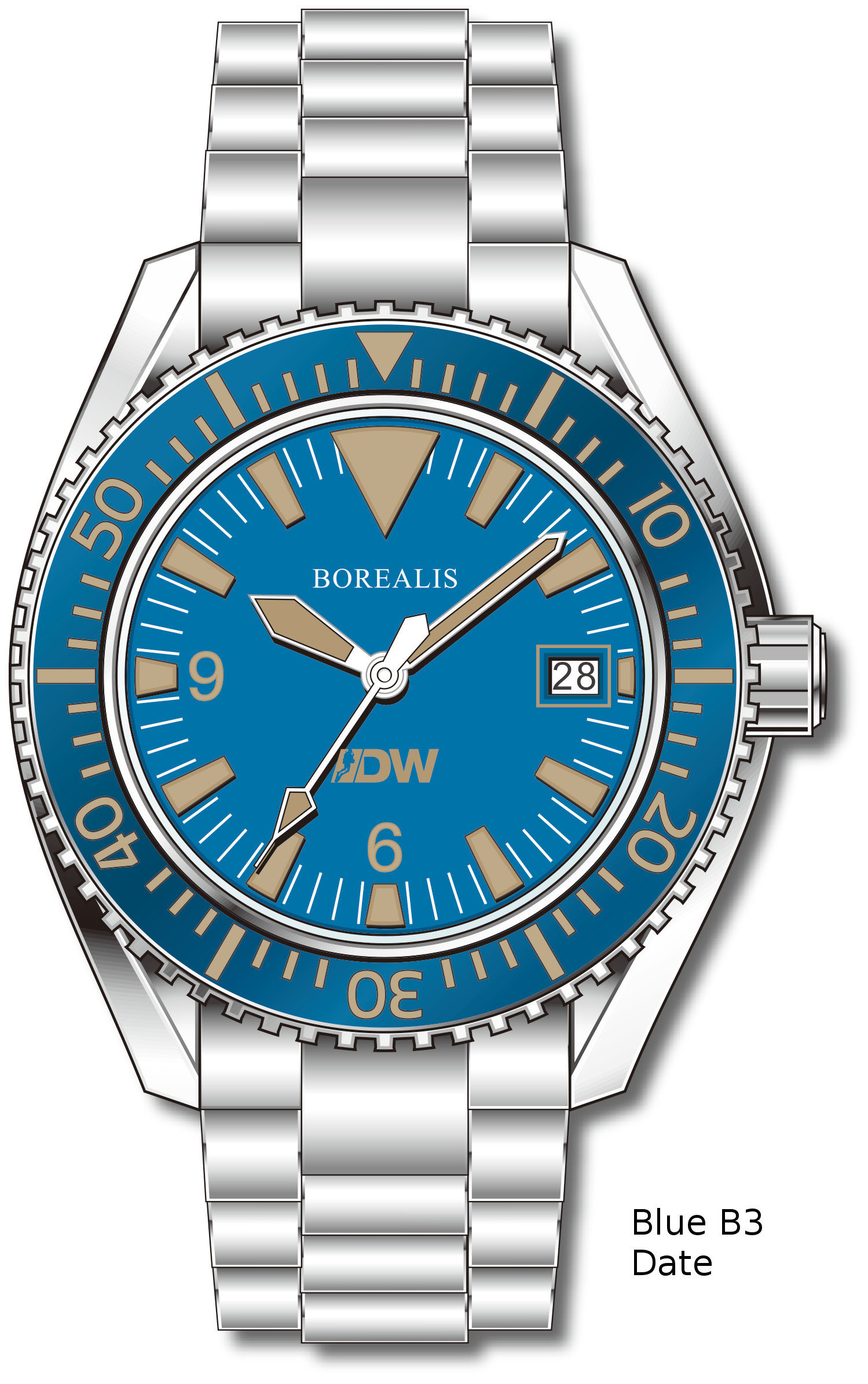 Pre-Order Borealis Estoril 300 for Diver's Watches Facebook Group Blue Dial Big Triangle Date Blue B3 Date EDWFBGBLUEB3DT