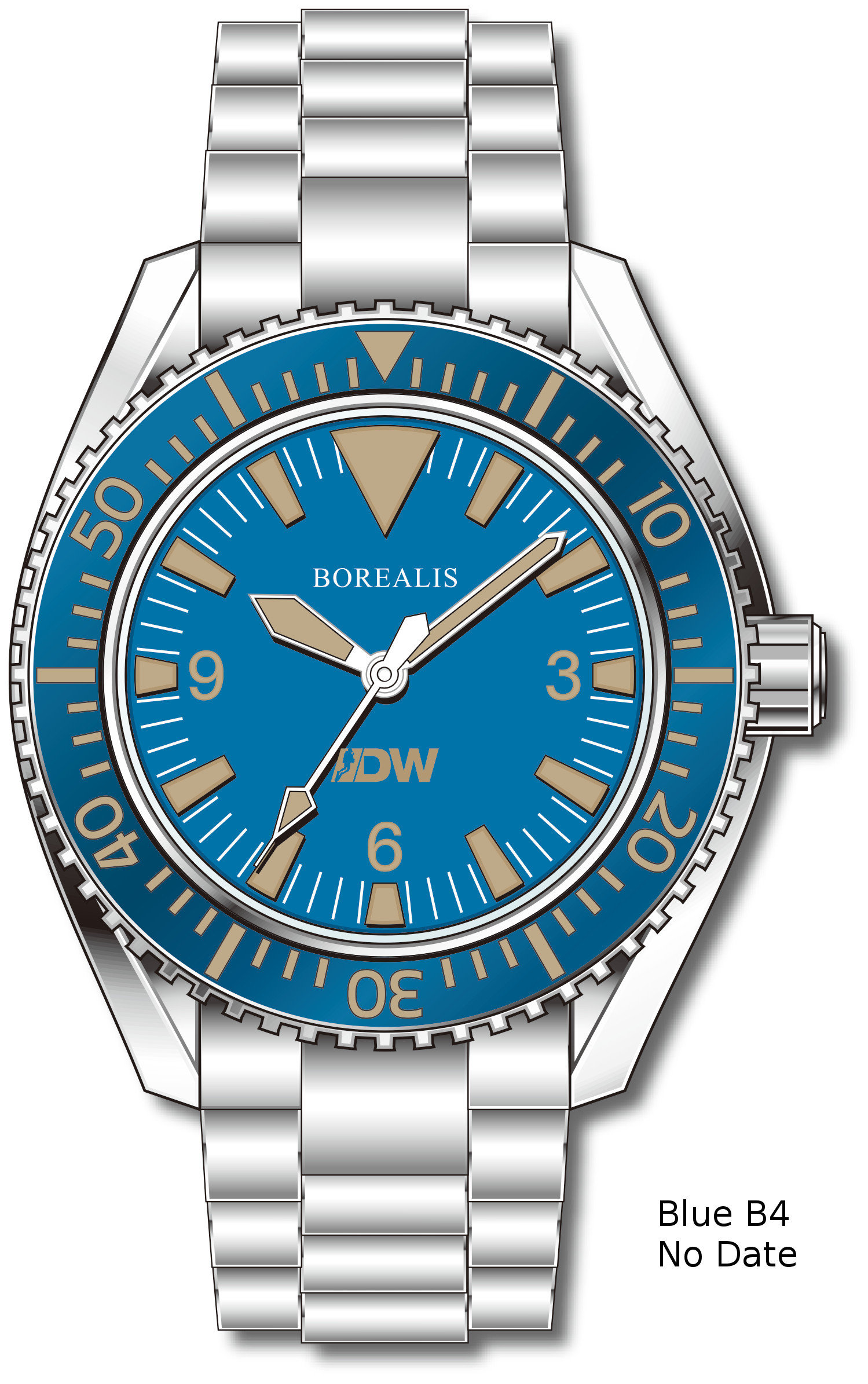 Pre-Order Borealis Estoril 300 for Diver's Watches Facebook Group Blue Dial Big Triangle No Date Blue B4 No Date EDWFBGBLUEB4NDT
