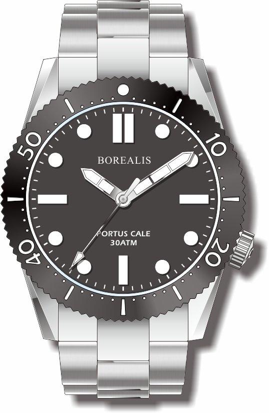 Pre-Order Borealis Portus Cale Black Version A1 Dial SLWL No Date BPCBLACKAA1ND