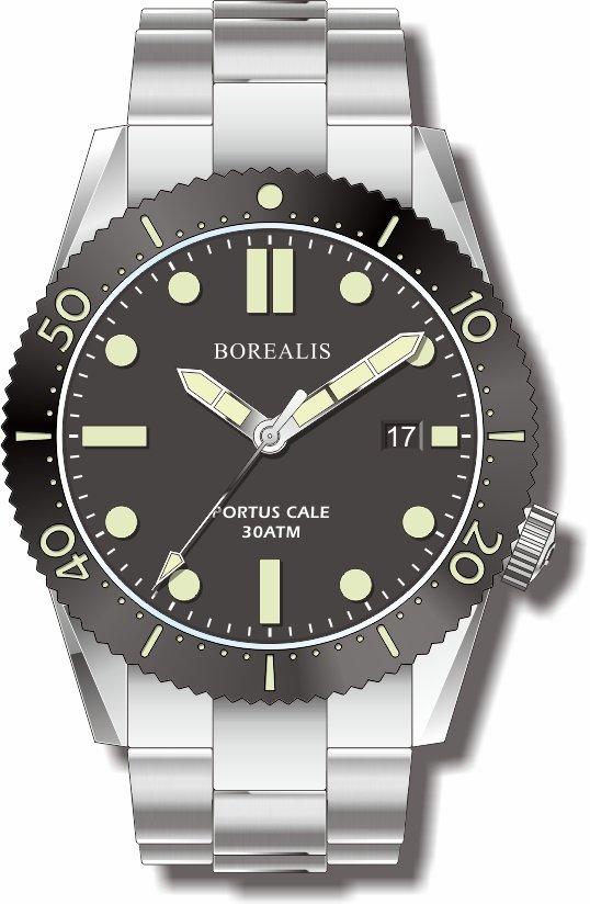 Borealis Portus Cale Black Version B Dial C3X1 Date