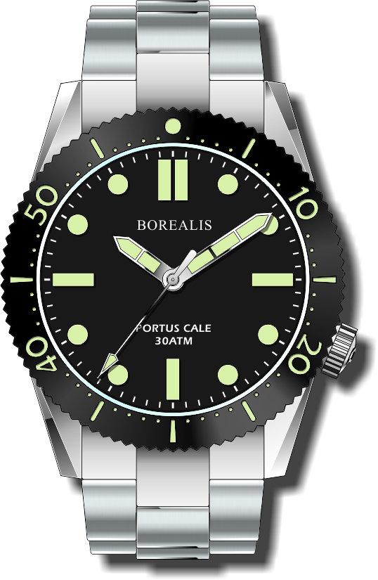 Pre-Order Borealis Portus Cale Black Version B1 Dial C3X1 No Date BPCBLACKAB1ND