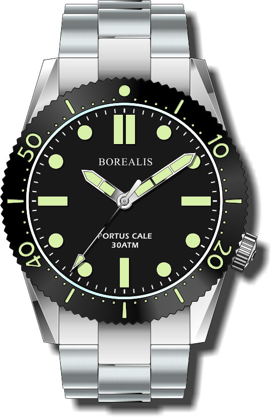 Pre-Order Borealis Portus Cale Black Version B1 Dial C3X1 No Date