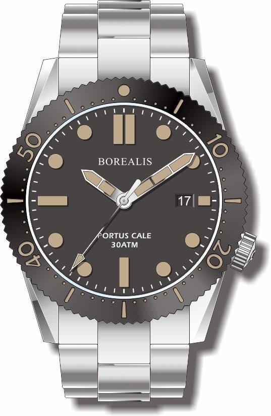 Pre-Order Borealis Portus Cale Black Version C Dial Old Radium Date BPCBLACKACD