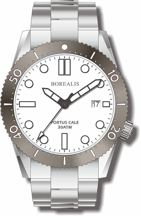 Pre-Order Borealis Portus Cale White Version A Dial SLWL Date BPCWHITEBAD