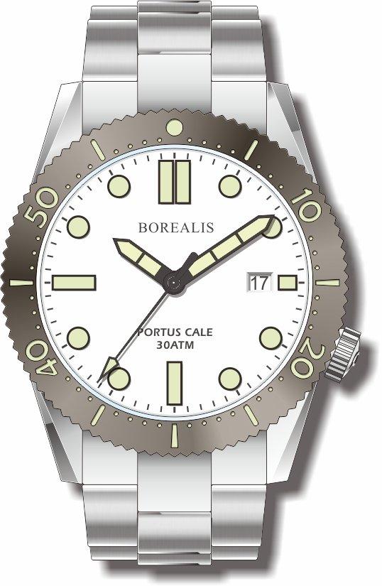 Pre-Order Borealis Portus Cale White Version B Dial C3X1 Date BPCWHITEBBD