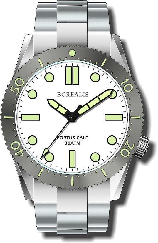 Borealis Portus Cale White Version B1 Dial C3X1 No Date