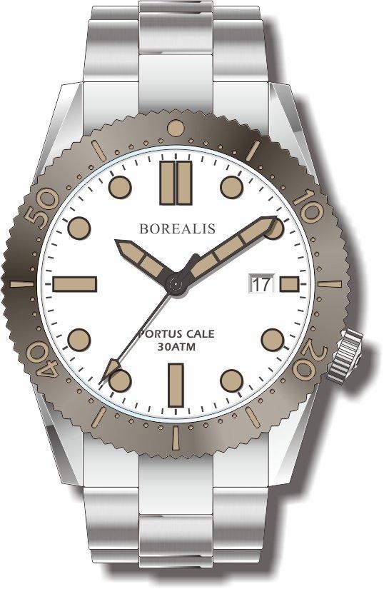 Pre-Order Borealis Portus Cale White Version C Dial Old Radium X1 Date BPCWHITEBCD
