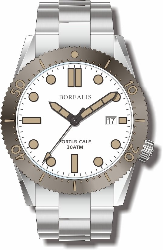 Borealis Portus Cale White Version C Dial Old Radium X1 Date
