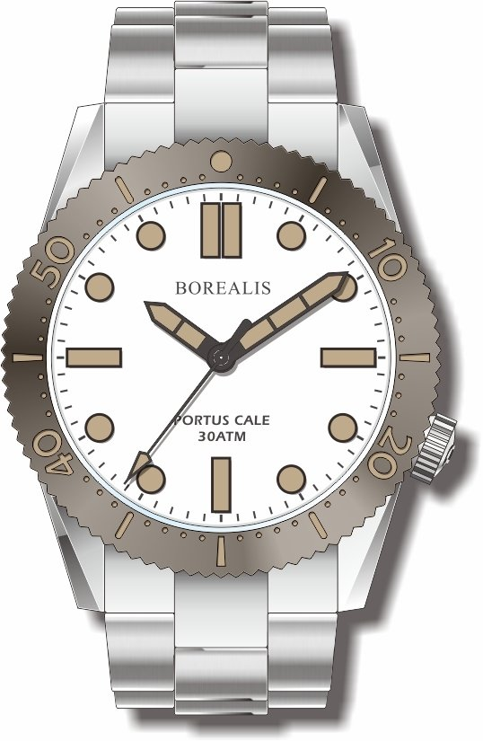 Borealis Portus Cale White Version C1 Dial Old Radium X1 No Date