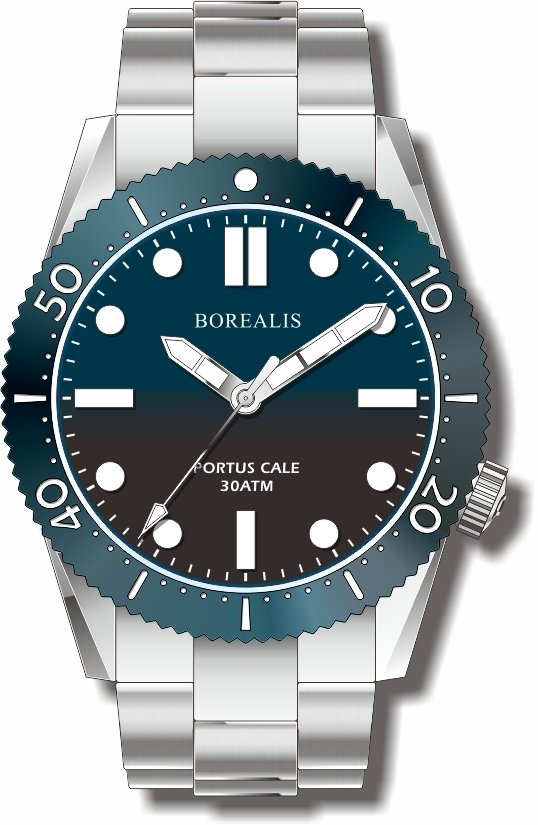 Pre-Order Borealis Portus Cale Blue Fade to Black Version A1 Dial SLWL No Date BPCBLUEF2BLACKCA1ND