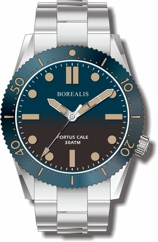 Pre-Order Borealis Portus Cale Blue Fade to Black Version C1 Dial Old Radium No Date