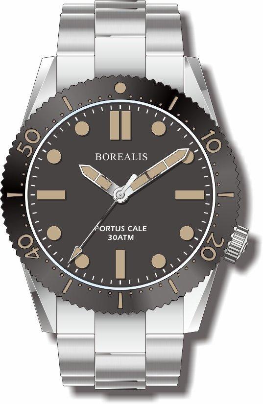 Pre-Order Borealis Portus Cale Black Version C1 Dial Old Radium No Date BPCBLACKAC1ND