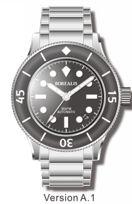 Pre-Order Borealis Sea Storm V2 Black Dial Version A.A1 Date BGW9 Lume
