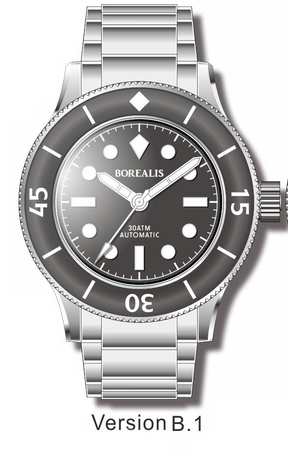 Pre-Order Borealis Sea Storm V2 Black Dial Version A.B1 No Date BGW9 Lume