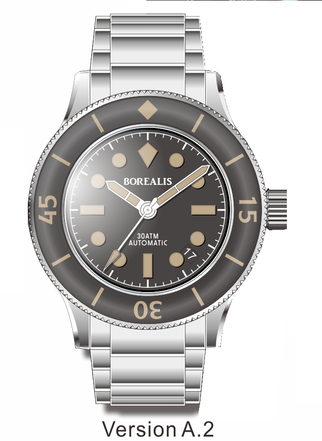 Pre-Order Borealis Sea Storm V2 Black Dial Version A.A2 Date Old Radium Lume SSV2A.A2