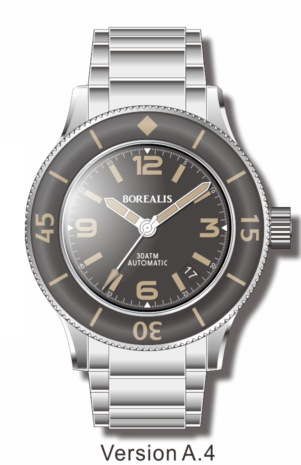 Pre-Order Borealis Sea Storm V2 Black Dial Version A.A4 Date Old Radium Lume SSV2A.A4