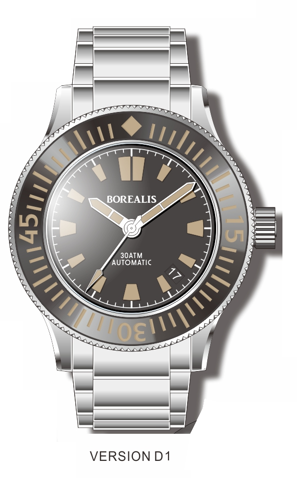 Pre-Order Borealis Sea Storm V2 Black Dial Version B.D1 Date Old Radium Lume