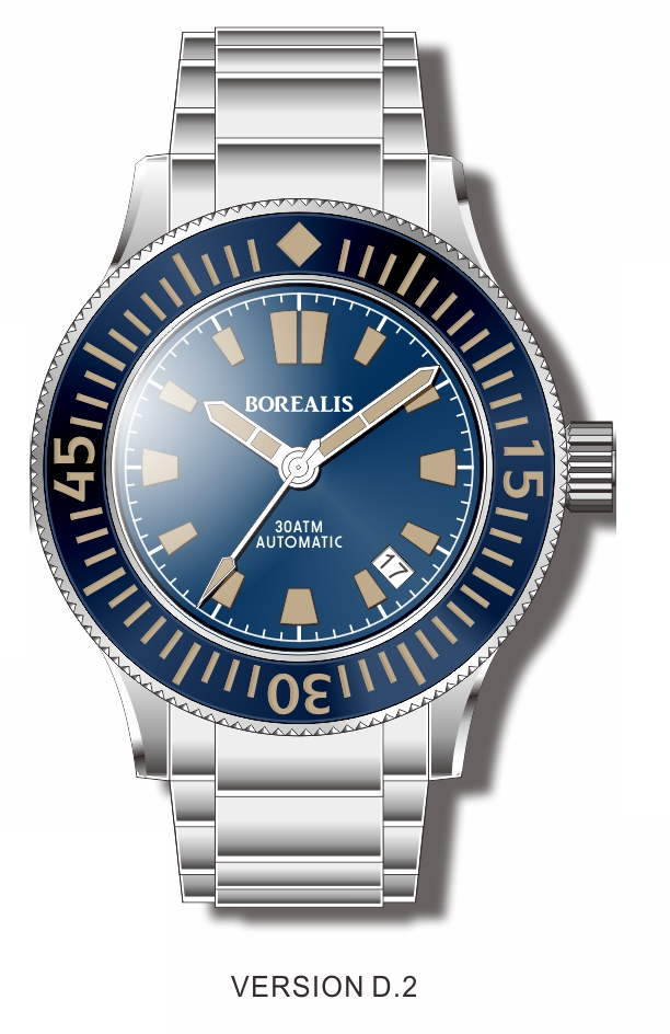 Pre-Order Borealis Sea Storm V2 Blue Dial Version B.D2 Date Old Radium Lume SSV2B.D2