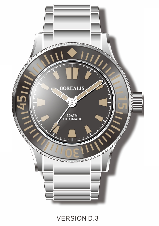 Pre-Order Borealis Sea Storm V2 Black Dial Version B.D3 No Date Old Radium Lume