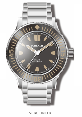 Pre-Order Borealis Sea Storm V2 Black Dial Version B.D3 No Date Old Radium Lume