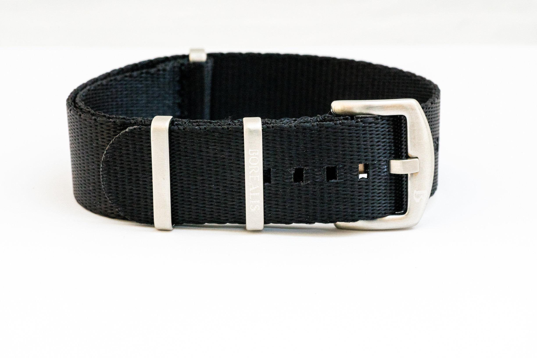 Borealis premium Nato style seatbelt 1.4mm nylon weave strap 22mm size black BNSBLACK1.4-22MM