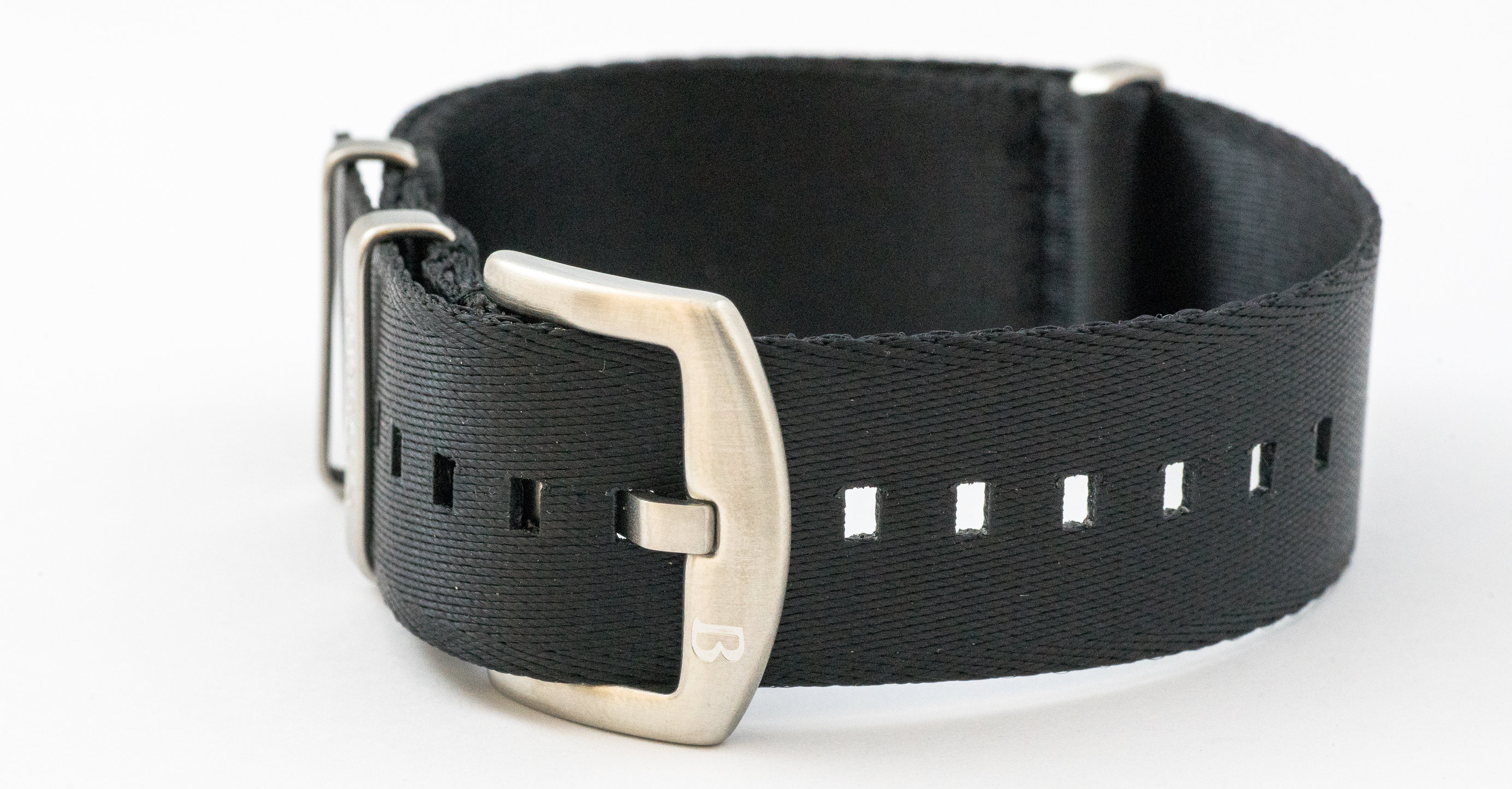 Borealis premium Nato style seatbelt 1.2mm nylon weave strap 20mm size black BSBNSBLACK20MM