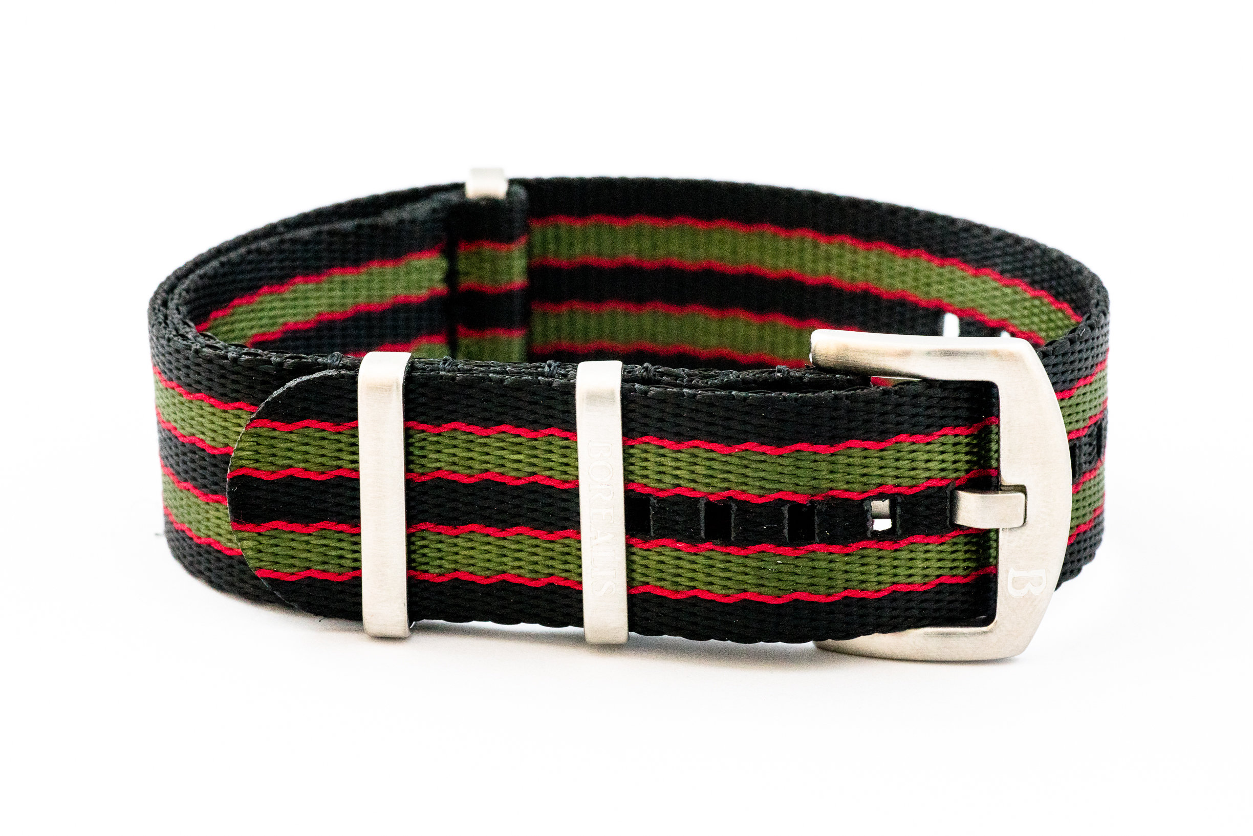 Premium Nato style seatbelt nylon strap 22mm size three tone black red green BSBNSBREDGREEN22MM
