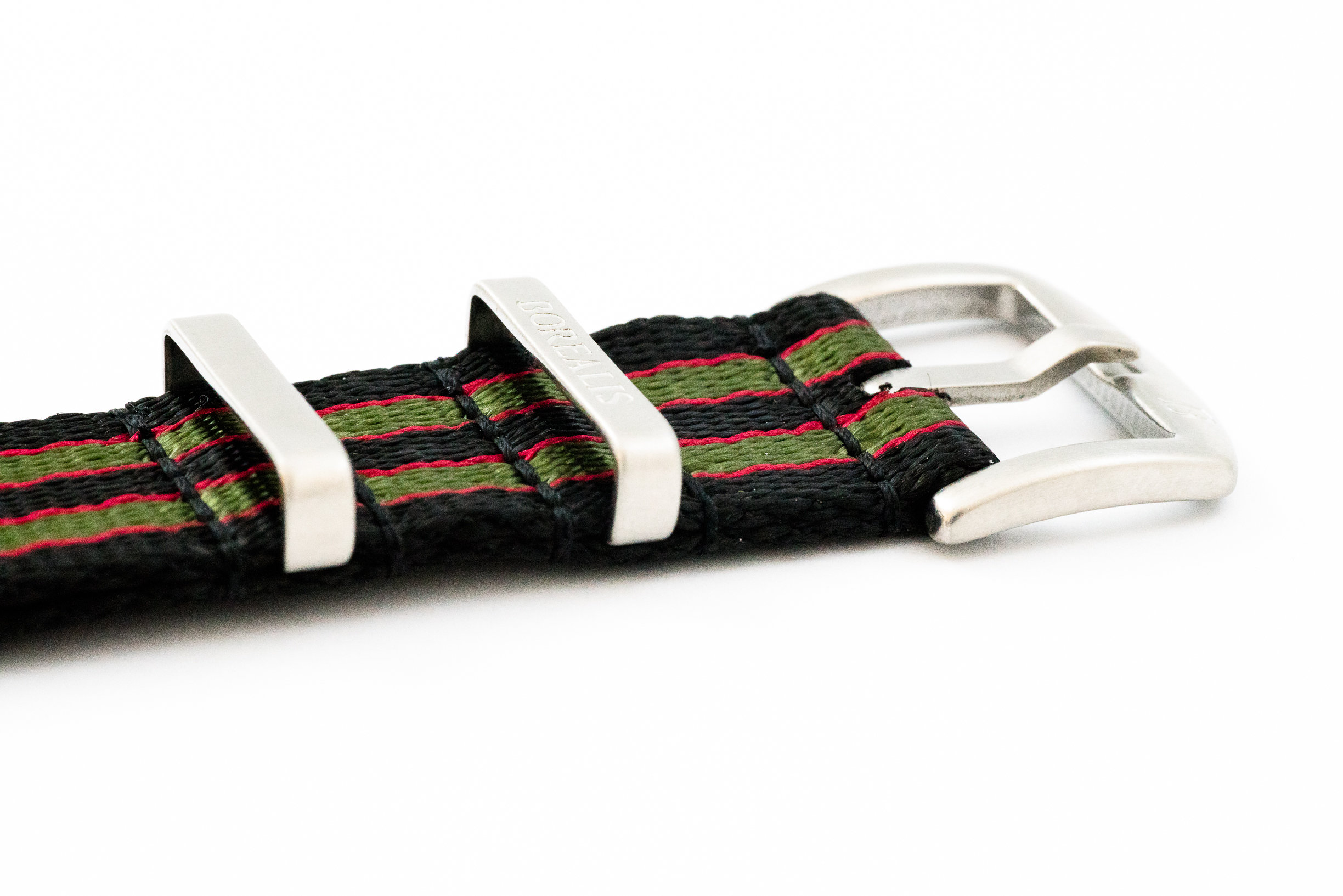 Premium Nato style seatbelt nylon strap 22mm size three tone black red green