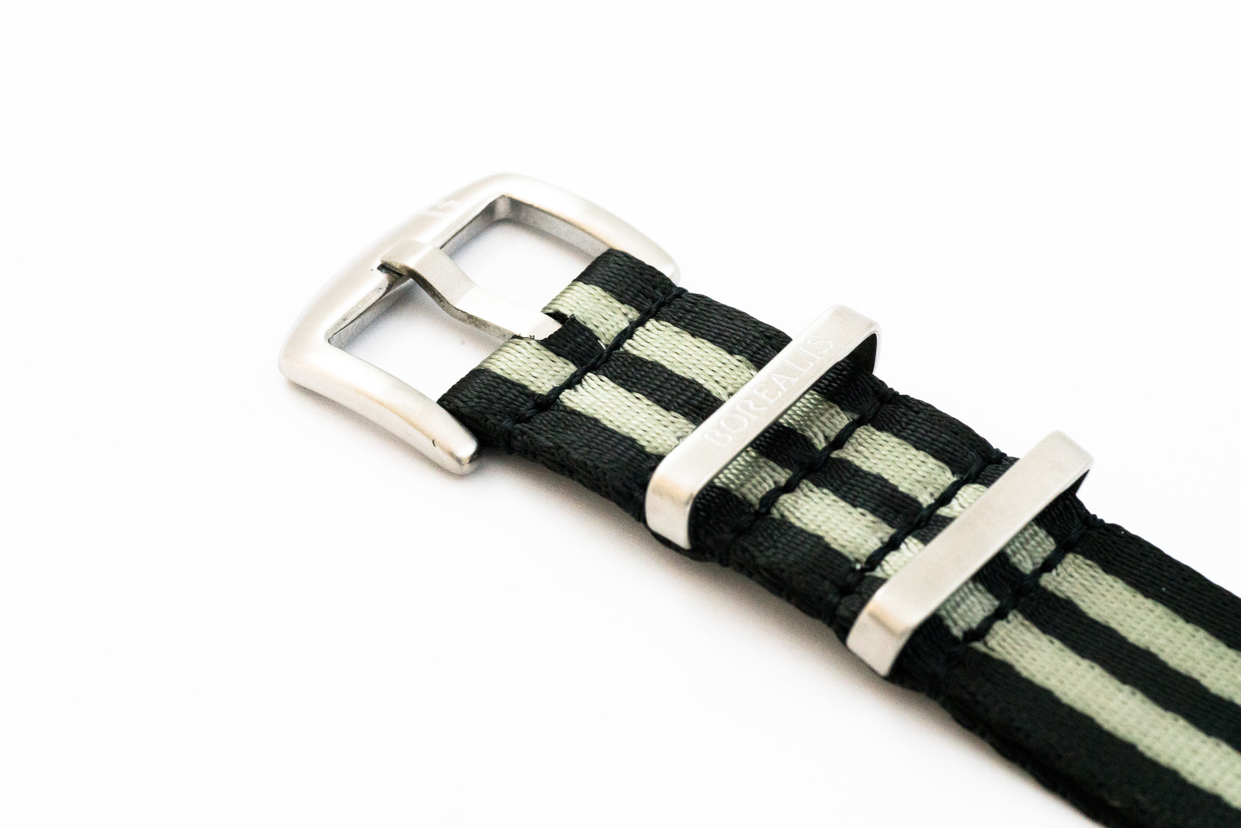 Premium Nato style seatbelt nylon strap 22mm size two tone black grey