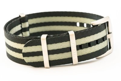 Premium Nato style seatbelt nylon strap 20mm size two tone black grey