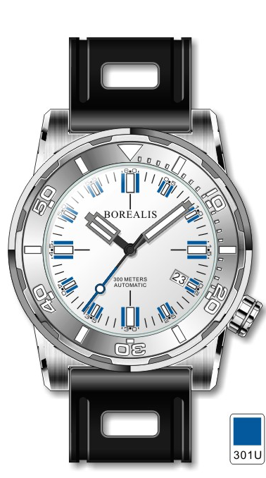 Borealis Sea Dragon Silver White Dial Miyota 9015 Automatic Diver Watch 300m