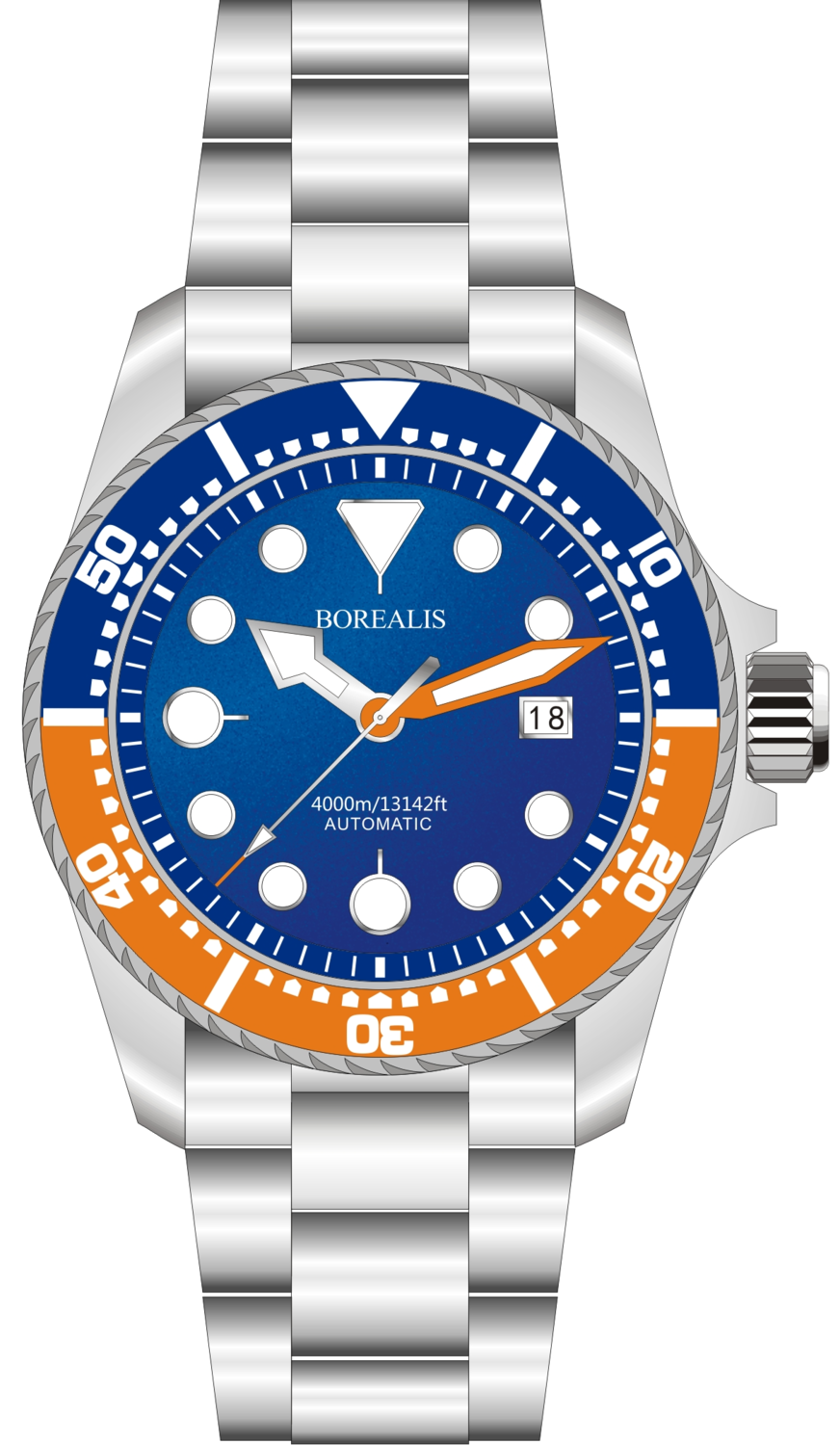 Borealis Seafarer II Stainless Steel Blue Orange BGW9 Sapphire Turbine Style Grip Bezel 4000m Miyota 9015 Automatic Diver Watch