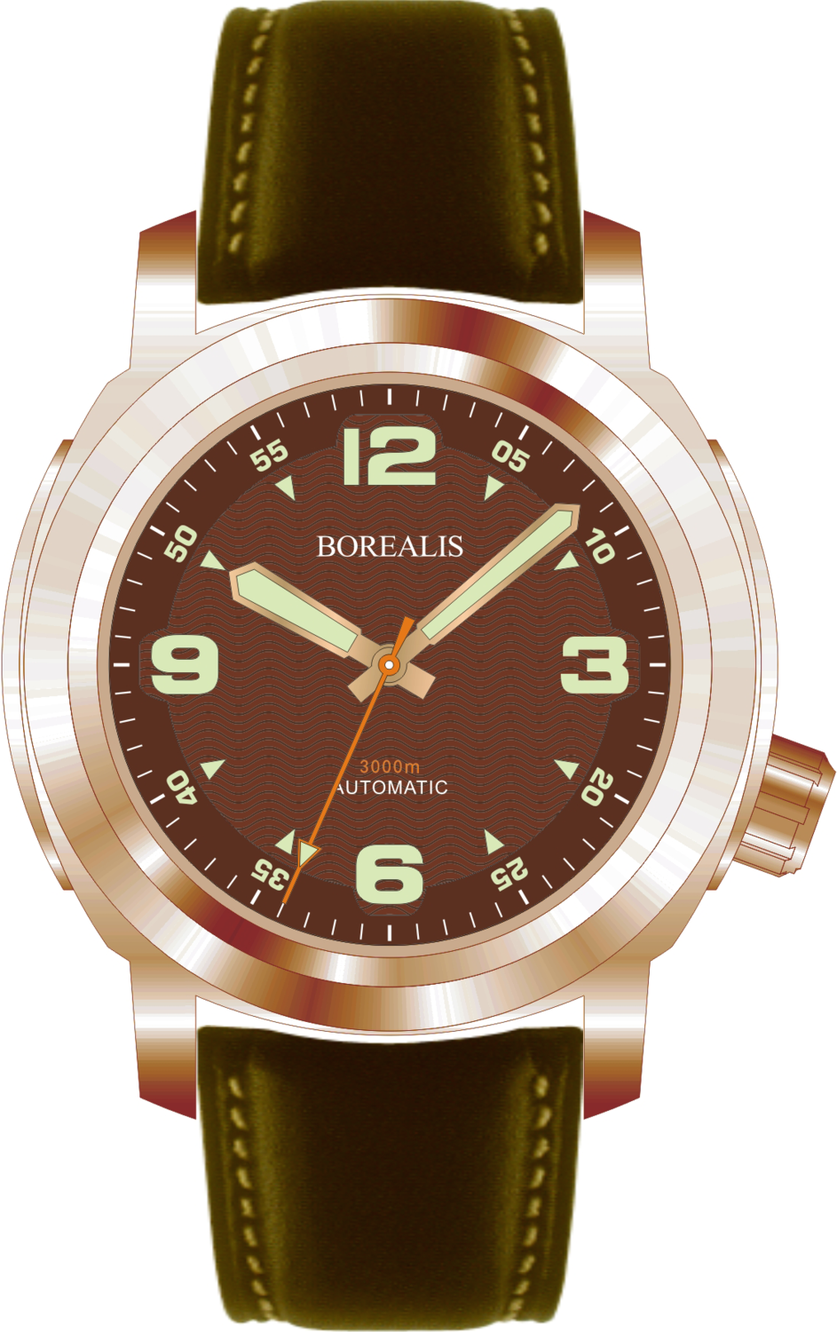 Borealis Batial Bronze CuSn8 Brown 3000m Miyota 9015 Automatic Diver Watch No Date Display