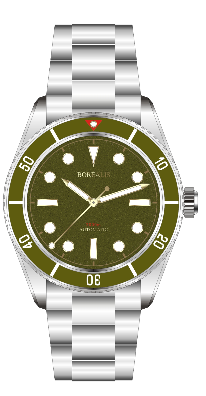 Borealis Bull Shark Automatic Diver Watch No Date Miyota 9015 Ceramic Green Bezel Green Dial