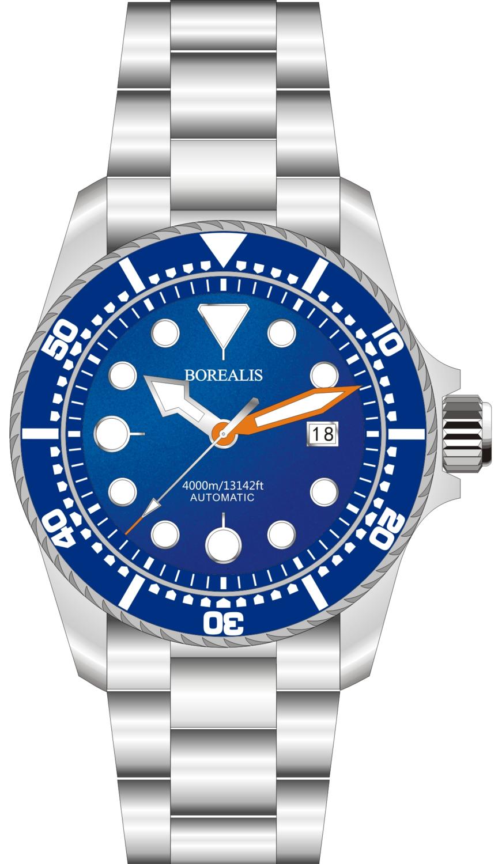 Borealis Seafarer II Stainless Steel Blue BGW9 Sapphire Turbine Style Grip Bezel 4000m Miyota 9015 Automatic Diver Watch