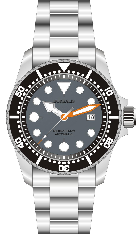 Borealis Seafarer II Stainless Steel Gray BGW9 Sapphire Turbine Style Grip Bezel 4000m Miyota 9015 Automatic Diver Watch