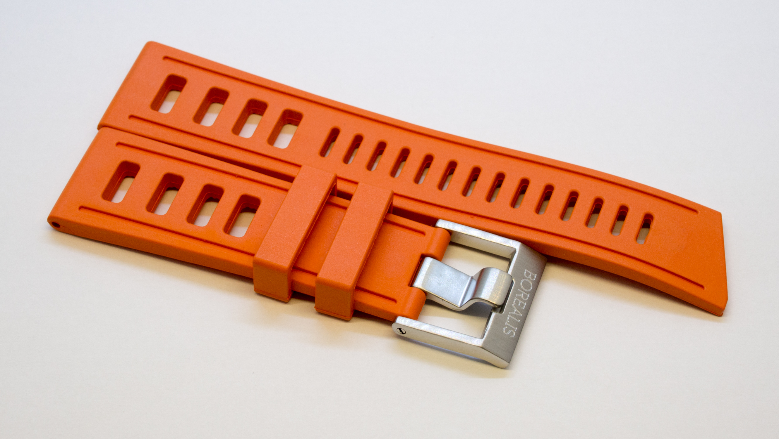 Borealis Vulcanized 24mm Rubber Strap Orange