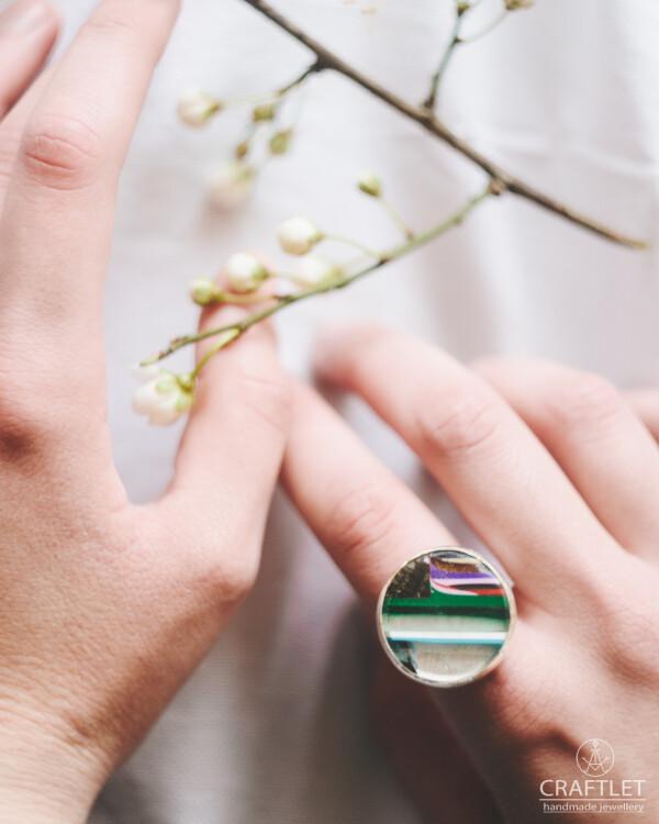 Silver Surfite Adjustable Handmade Ring