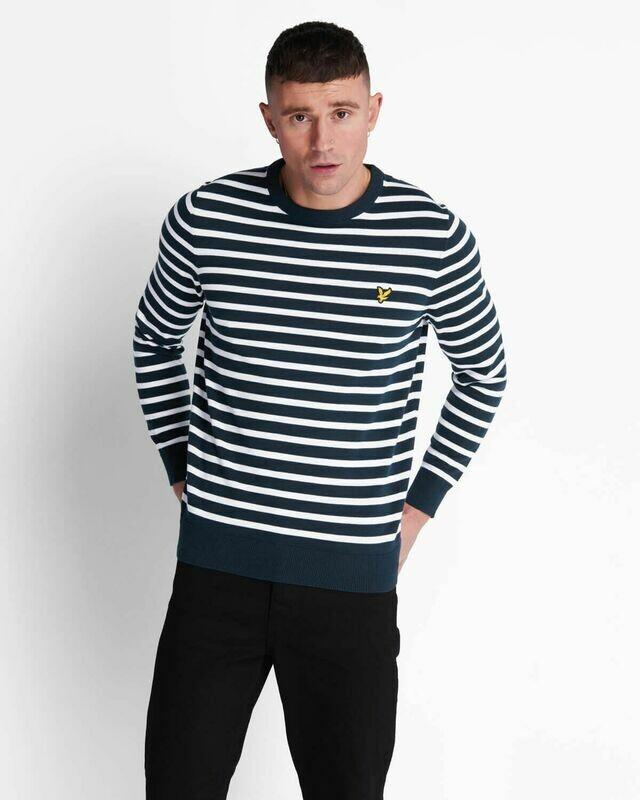 Lyle & Scott | Breton Stripe Jumper - Dark Navy White